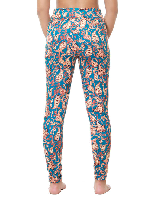 Fascinating Brushed Flower Printed Leg Wear Wide Waist Pocket For Strolling