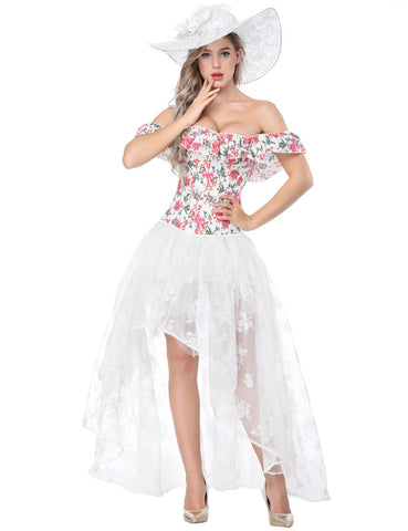 Fascinating Flower Print Bustier And Lace Skirt Off Shoulder Waist Slimmer