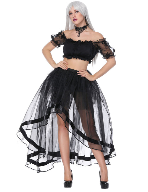 Fashion Crop Top Asymmetric Mesh Skirt Set Off The Shoulder Close Fitting