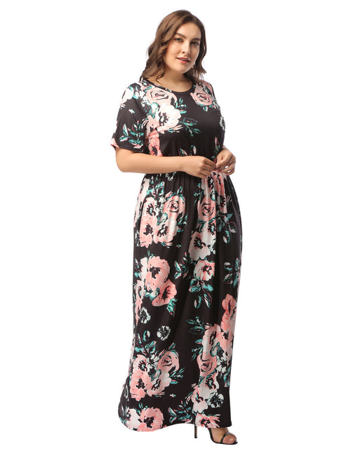 Fashionable Floral Print Plus Size Maxi Dress Elastic Waist Loose Fit