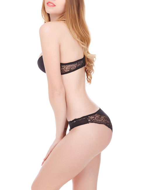 Fashionable Y Line Straps Lace Lingerie Matching Sets For Girl