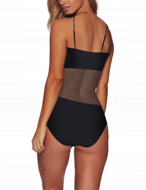 Feisty Mesh Patchwork Swimwear Cut Out Poolside Party