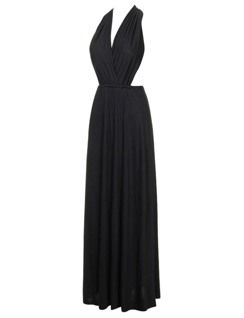Fetching Backless Cross V Neckline Dress Full Length Ultra Cheap