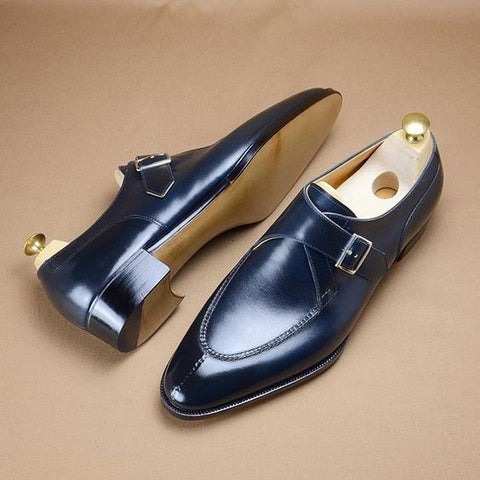Gold Hasp Pointed Toe Business Shoes