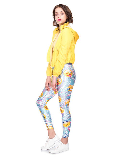 Fiercely Emoticon Print Nine Leggings All Match Feminine Charm