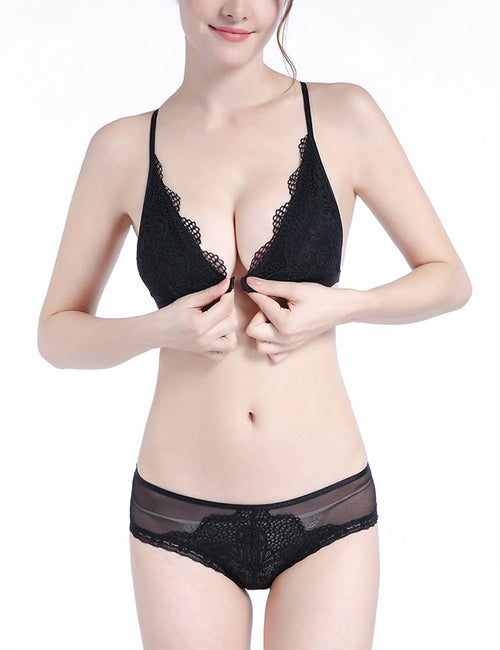 Fiery Front Closure Bra Translucent Panty Comfort Fashion