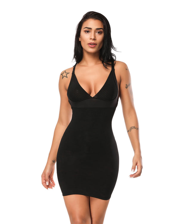 Figure Shaper V Neckline Stretch Slip Open Back Moderate Control
