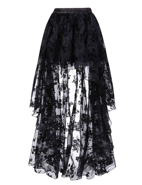 Fit Floral Pattern Skirt Elastic Waist For Streetshots