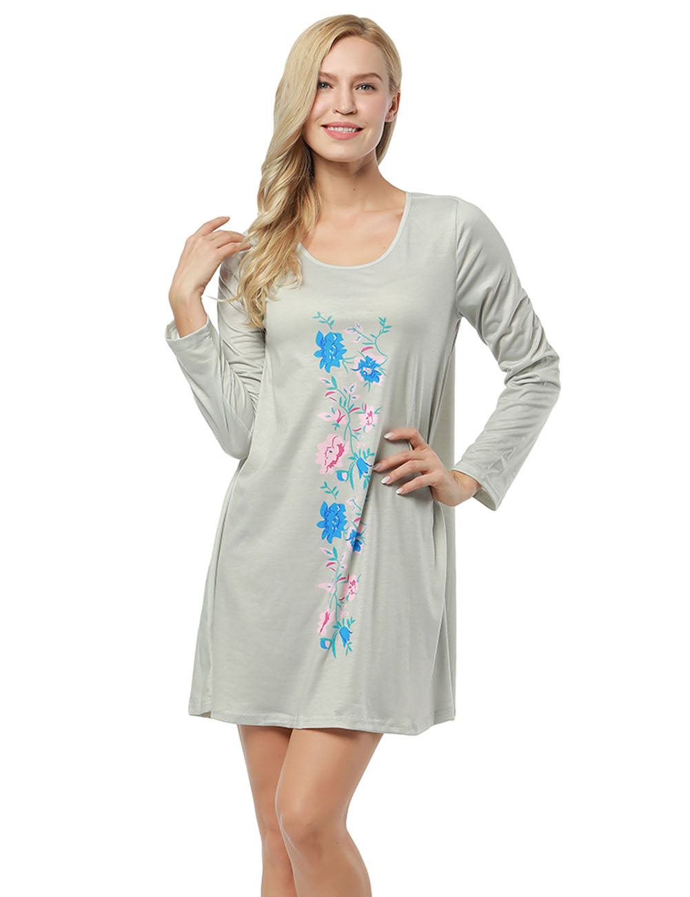 Flattering Floral Printed Ruffle Hem Dress Full Sleeve Female Charm