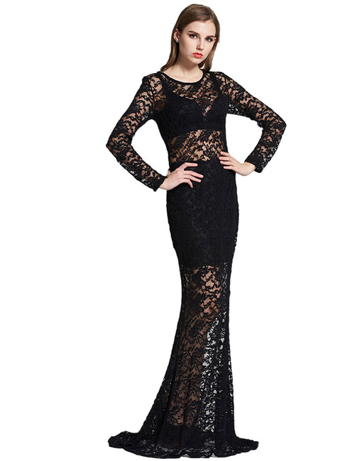 Flattering Sheer Lace Formal Evening Gown Dress Up Back Natural Women