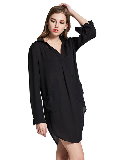 Flattering Shirt Dress Casual Mini Length Fashion Comfort