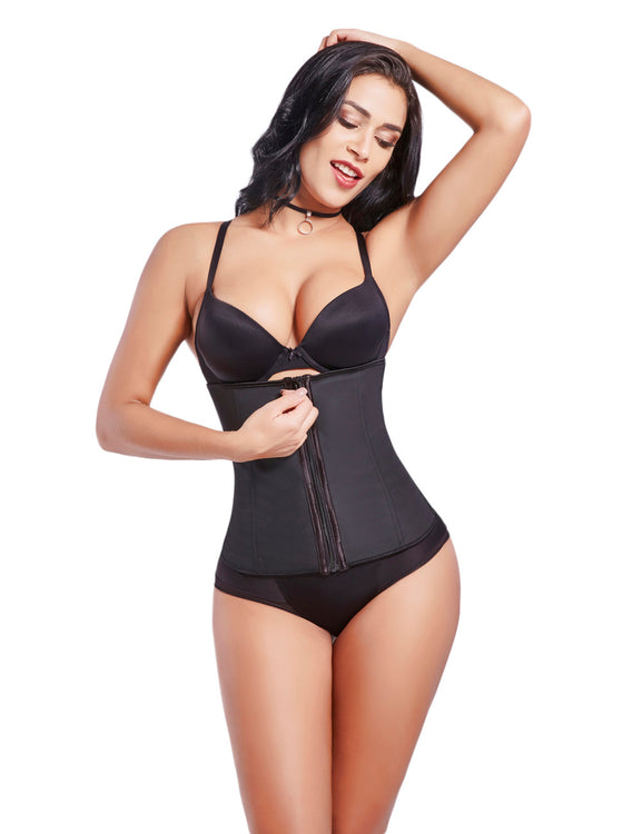 Invisible 7 Steel Bones Hooks Zipper Latex Underbust Corset Push Up