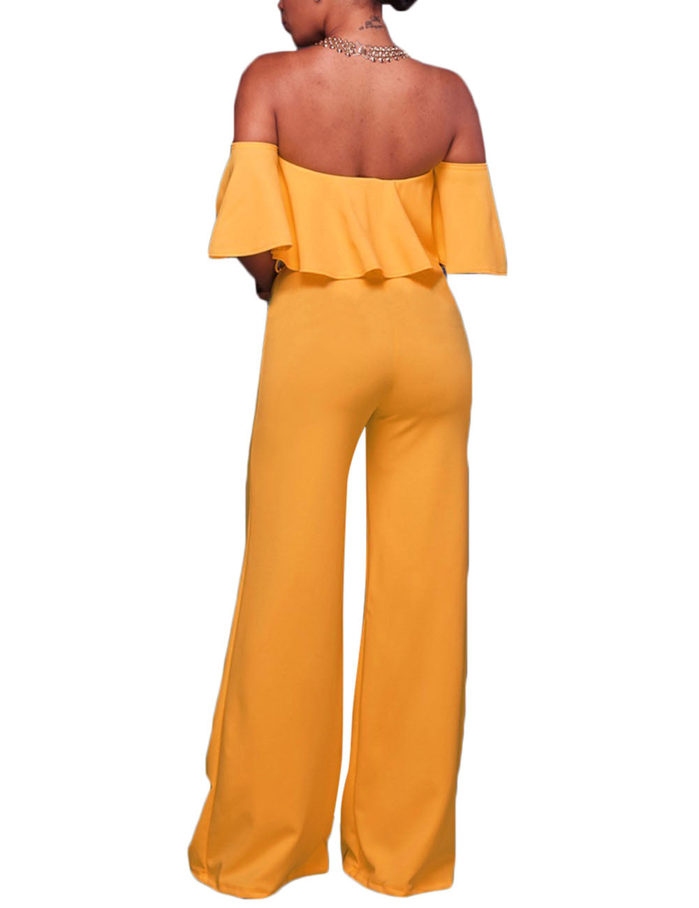 Flexible Ruffled Off Shoulder Wide Leg Bodycon Jumpsuit Contouring Sensation