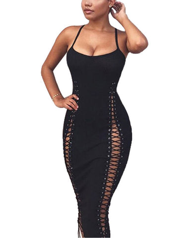 Flirtatious Hollow Out Lace Up Maxi Dress Buttonhole Vacation Time