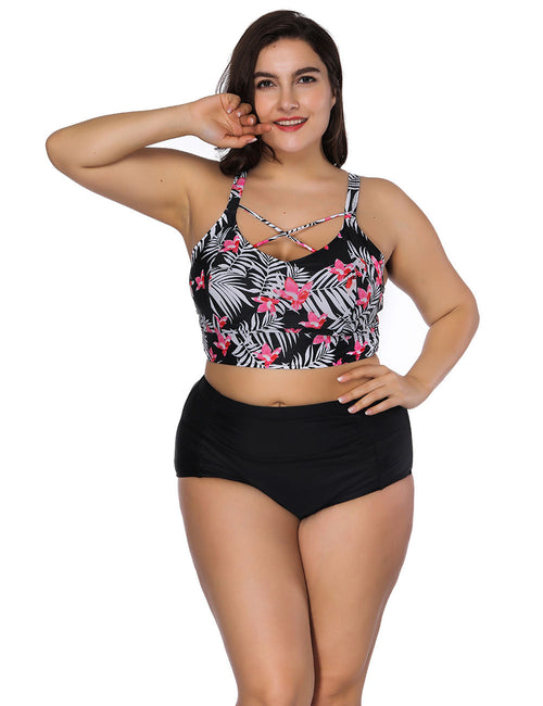 Flirting Large Two Piece Printed Beachwear Cross Front Best Materials