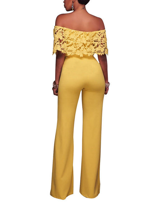 Flirty Applique Overlay Long Jumpsuit Hot