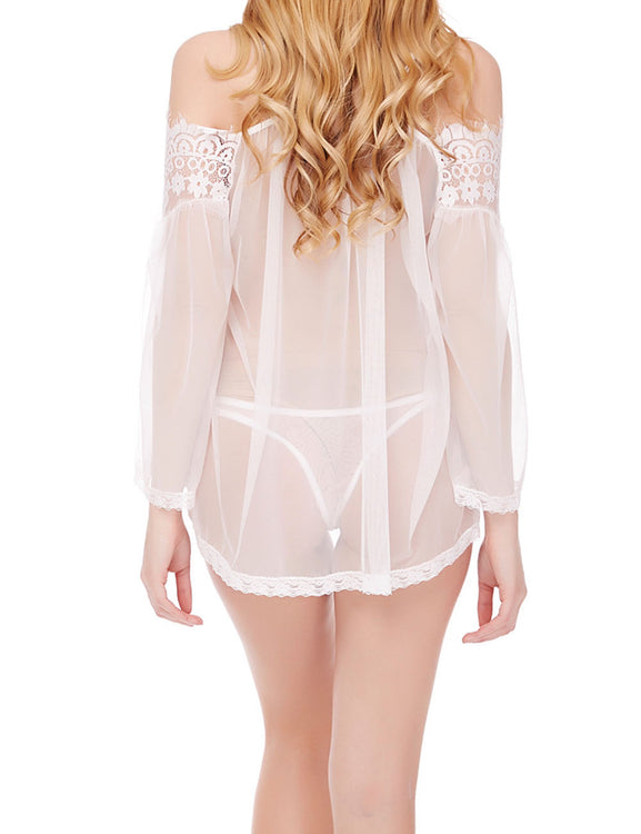 Floral Eyelash Lace Babydoll Mesh Long Sleeve For Woman Fashion Online