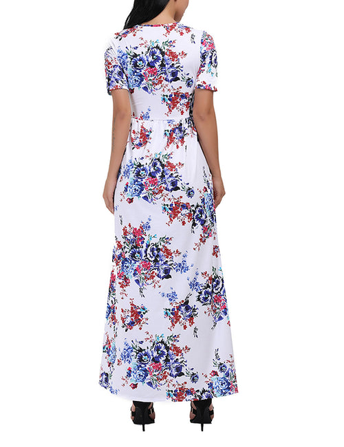 Floral Short Sleeve Maxi Dresses With Two Pockets Superior Comfort