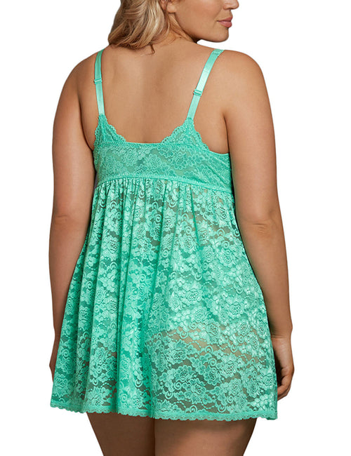 Flossy Sheer Lace Plunge V Neck Babydoll Slim Style