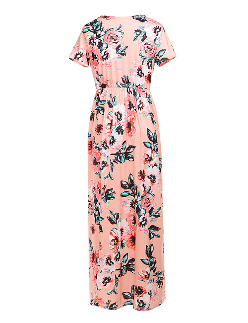 Flowery Round Neck Floral Printed Dress Ruffle Waist Natural Outfit