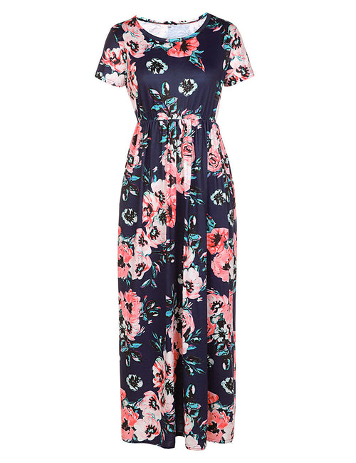 Flowing Flower Printing Maxi Dress Side Pockets Newest Fashion