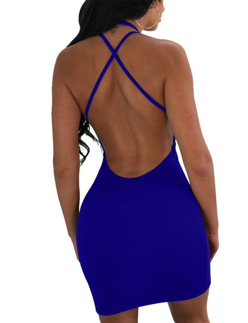 Flowing Front Multiple Straps Tight Dresses Backless Casual Wear