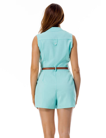 Fresh Waist Belt Short Button Up Jumpsuit Sleeveless Fashion Forward