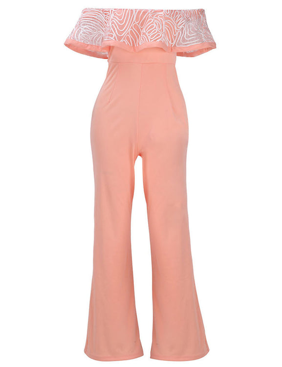 Functional Bandeau Neck Strapless Ruffle Cover Up Jumpsuit Feminine Grace