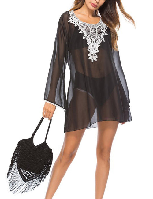 Functional Ethnic Style Embroidered Bikini Outer Blouse Long Sleeves Chic Fashion