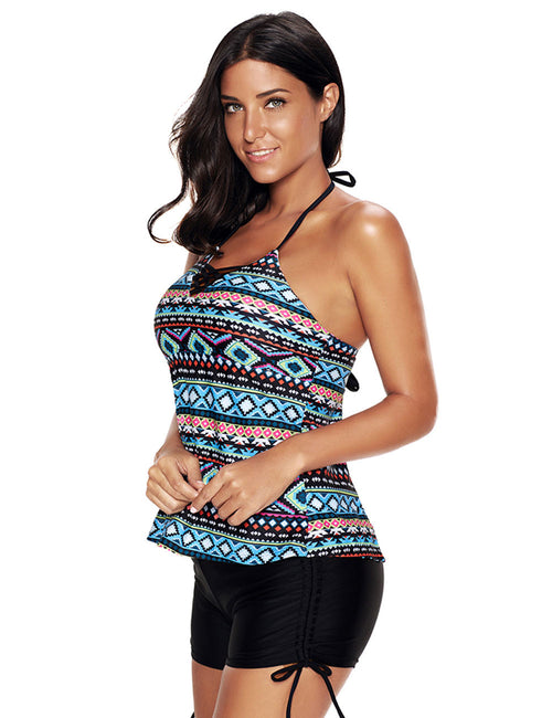 Functional Plus Tribal Pattern Tankini Halter Neck Open Back Boyshorts For Girl