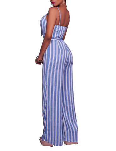 Funky Stripe Sleeveless Jumpsuit Front Cutout Slender Straps Feminine Fashion Trend