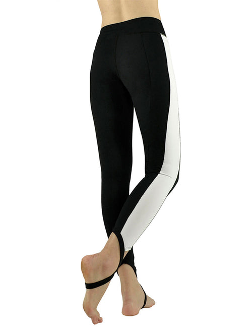 Glam Black White Stripe Side Sole Straps Running Pants Cheap Fashion Style