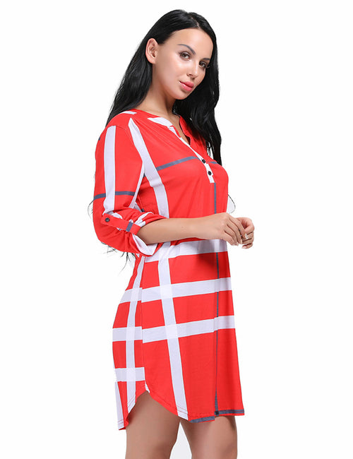 Glamorous Pattern Long Sleeves Dress Button Front For Party