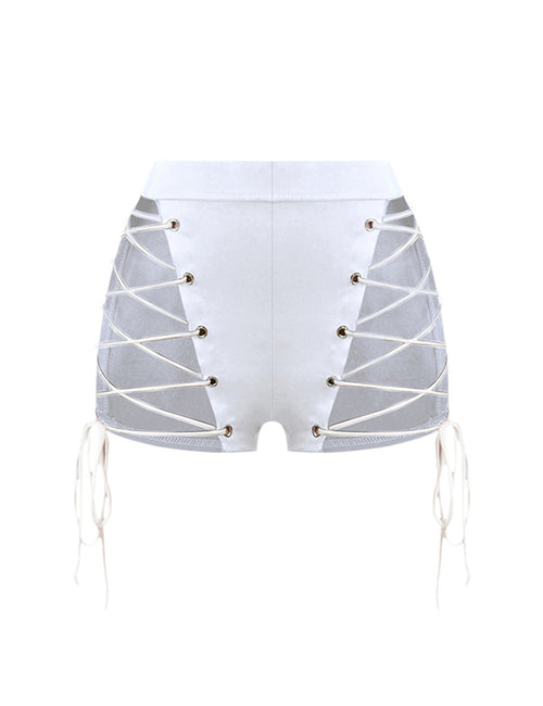 Glaring Bandage Cut Buckle Shorts Back Zipper Closure Absorbs Moisture