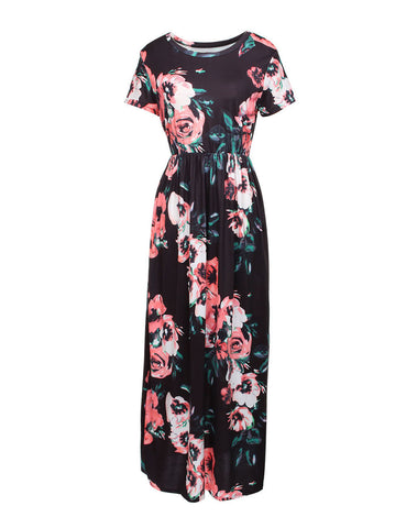 Glitzy Large Print Pocket Swing Maxi Dress Forward Women