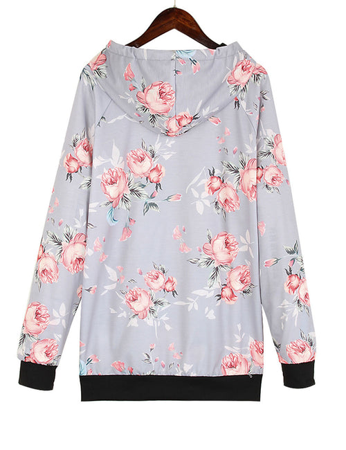 Glorious Floral Printed Sweater Black Trim High Neck Forward Women