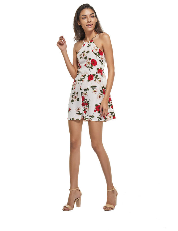 Glossy Blossom Print Playsuits High Back Strappy On-Trend Fashion