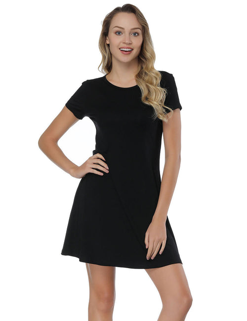 Good-Looking Mini Bamboo Dresses With Short Sleeve All-Match Fashion