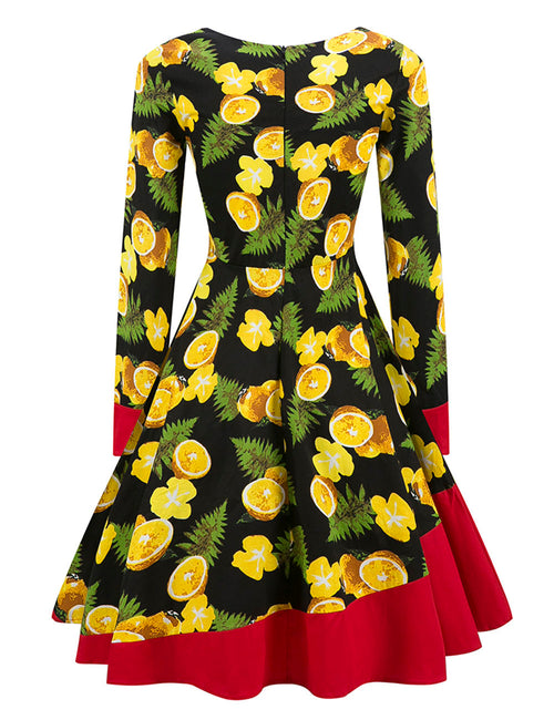 Good-Looking Wide Ruffle Hem Print Skater Dress Round Neck Latest Trends