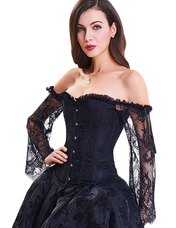 Good Drawstring Back Lace Sleeves Overbust Corset 12 Plastic Bones Fashion Shaper