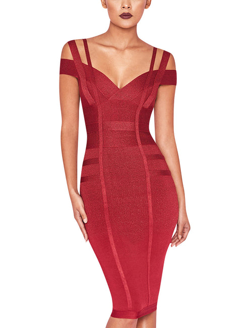 Gorgeous Cold Shoulder Bandage Dress Back Zipper Workout