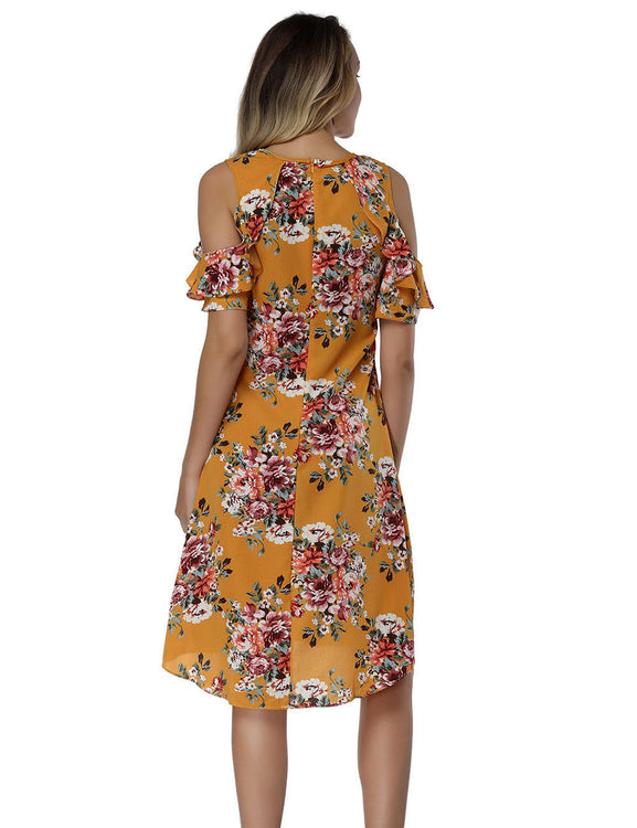 Gorgeous Cold Shoulder Flounce Dresses Irregular Hem Smooth