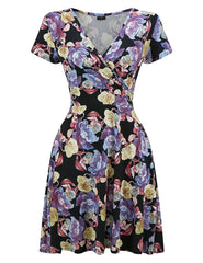 Gorgeous Seamed Waist Print Skater Dress Short Sleeve For Beauty