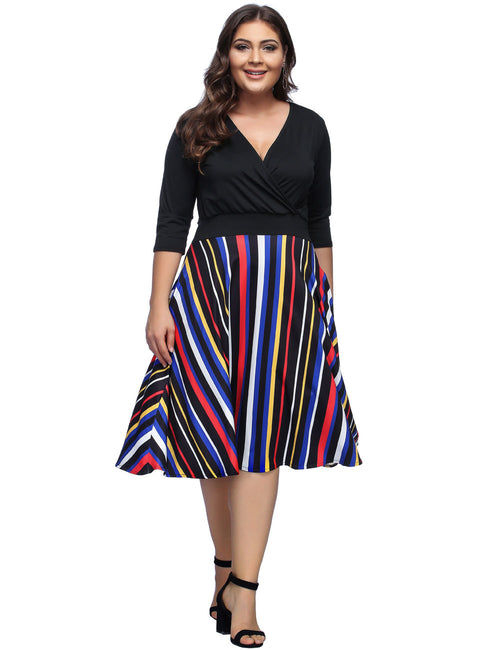Graceful V Neck Big Midi Dresses Stripes Stunning Style