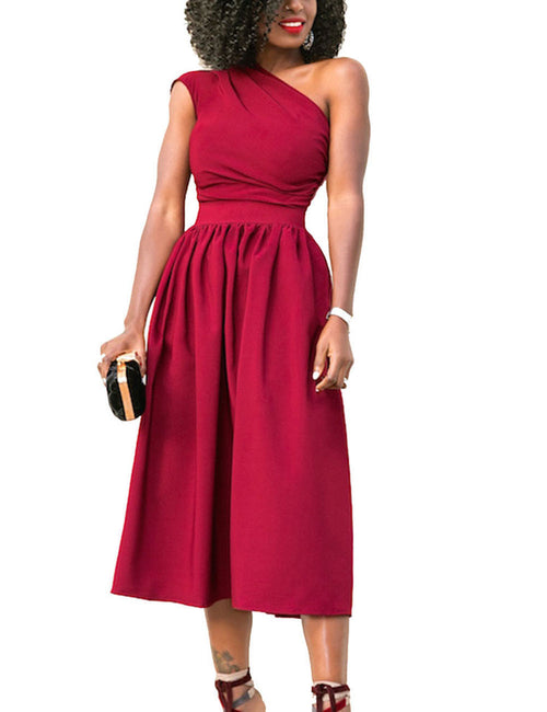 Gracious Wide Flare Dress Midi Length Fashion Design