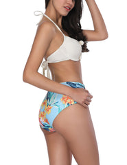 Heartthrob Ruched Cup Bikini Set Halter Self Tie Bowknot For Summer Vacation