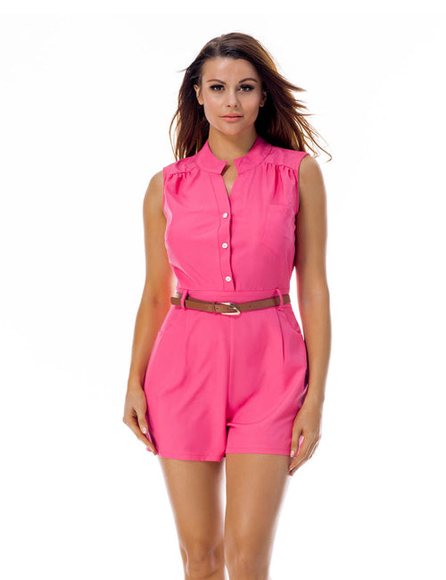 High Quality Button Up Romper Gathered Belt Hot Selling Online