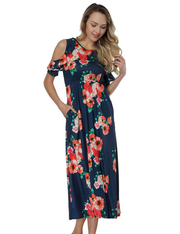 High Waist Print Midi Dresses With Flounce Sleeve Women's Essentials