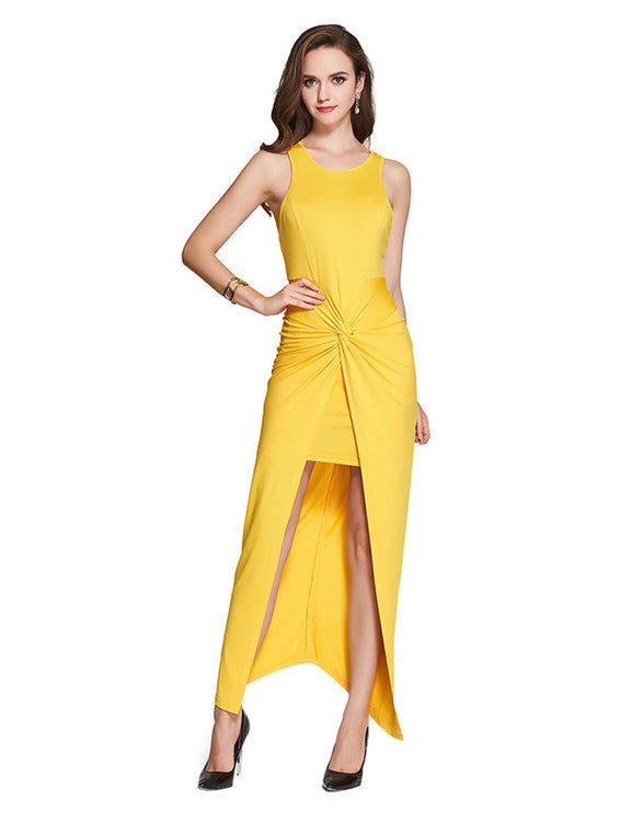 Holiday Socialite Wrap Over Front Long Yellow Maxi Dress Sleeveless Fashion Ideas