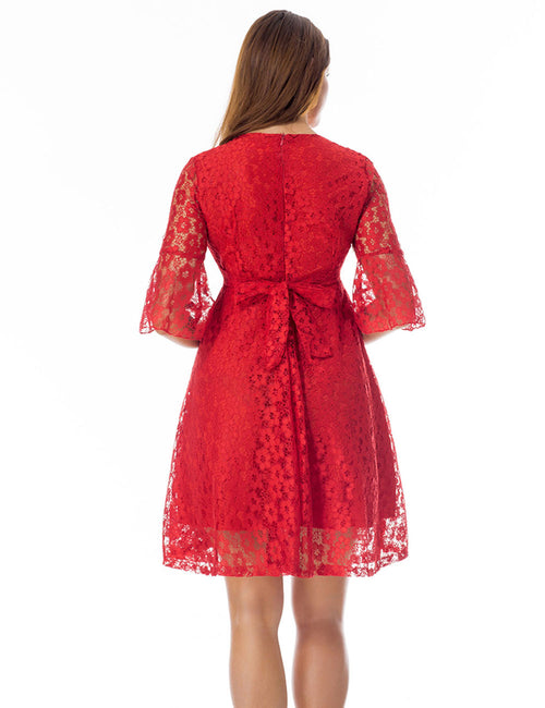 Honey Flare Lace Sleeve Mini Dress Back Bowknot Lightweight